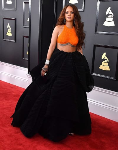 Rihanna attends 2017 Grammy Awards