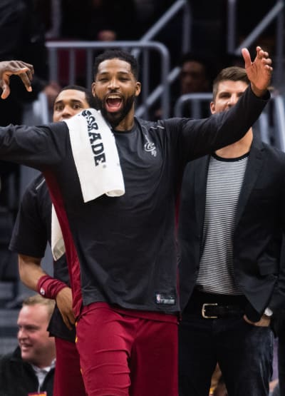 Tristan Thompson Celebrates Hard