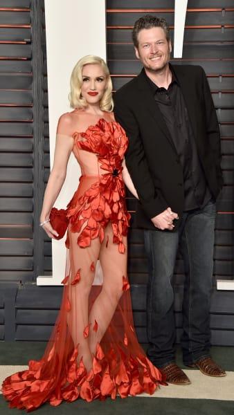 Gwen Stefani in Red with Blake Shelton