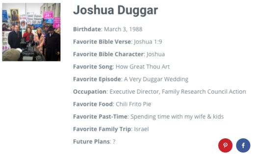 Josh Duggar Profile