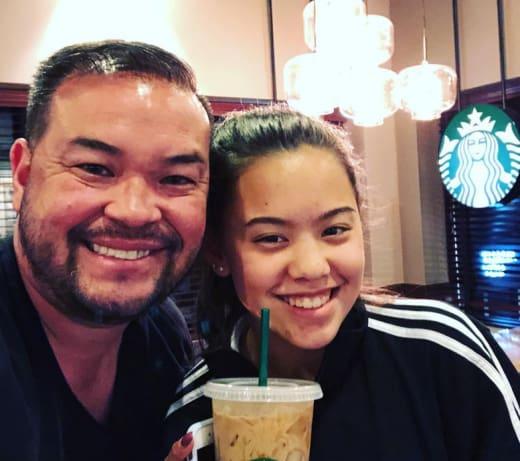 Jon Gosselin and Hannah Gosselin at Starbucks