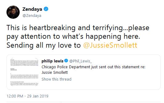 Jussie smollett tweet by zendaya