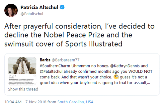 Patricia Altschul shades Ashley Jacobs in tweet