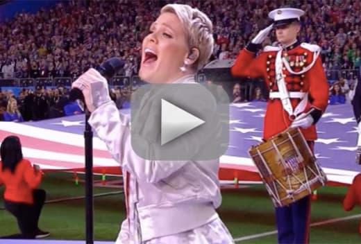 Pink sings national anthem grade it