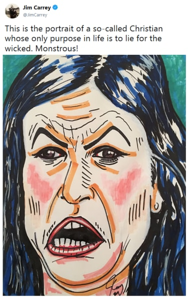 Jim Carrey Paints Sarah Huckabee Sanders