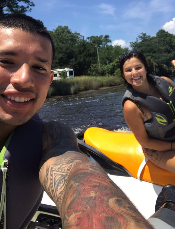 Javi marroquin with lauren comeau