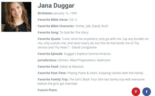Jana Duggar Profile