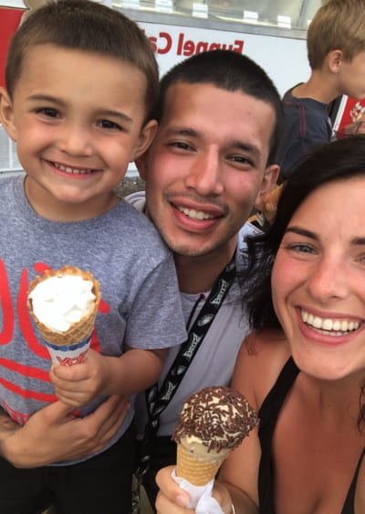 Javi Marroquin with Lauren Comeau and Lincoln
