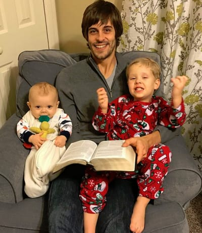 Derick Dillard and his boys on Christmas