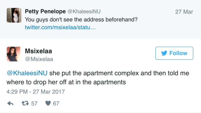 Wait wasnt she told the address right away