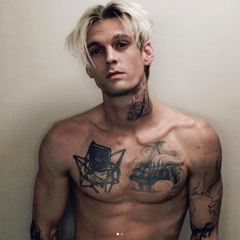 Aaron Carter with Chest Tats