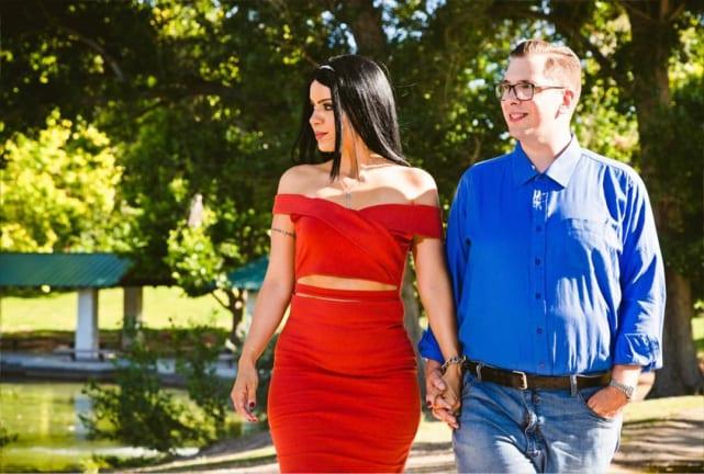 Larissa lima and colt johnson on a walk
