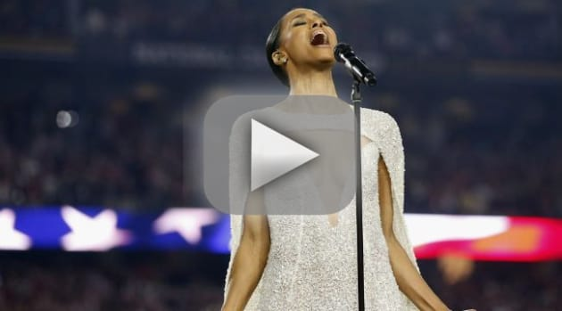 Ciara sings national anthem exposes her cleavage