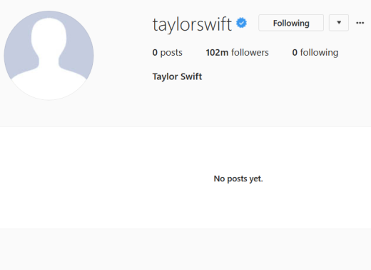 Taylor Swift, Blank Instagram