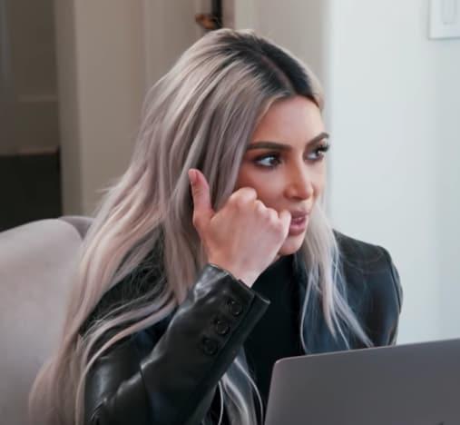 Kim Kardashian at a Computer