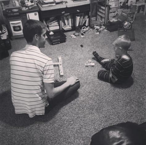 Derick Dillard Playing with Son