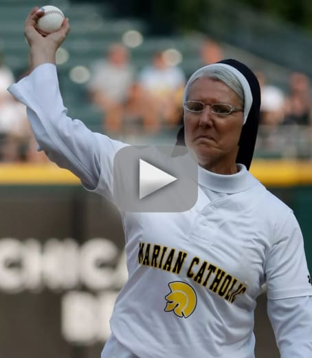 Nun fires perfect first pitch strike should probably be signed b