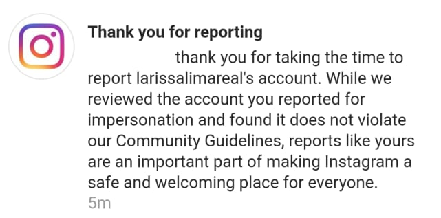 Larissa fake account reported