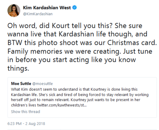 "Kim Kardashian ""Oh Word"" Tweet about Kourtney"