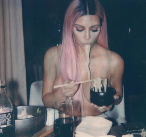 Kim Kardashian Nude Eating Noodles