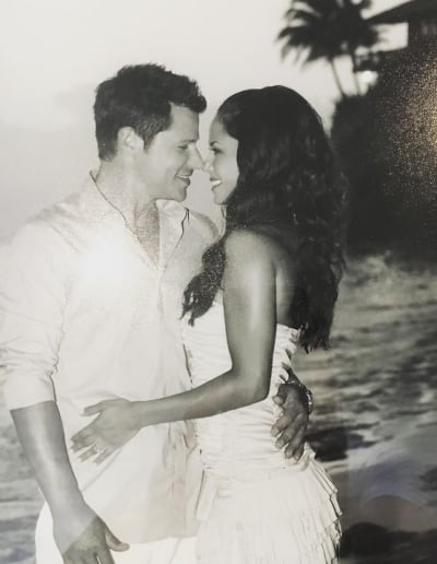 Nick Lachey and Vanessa Lachey in Black and White