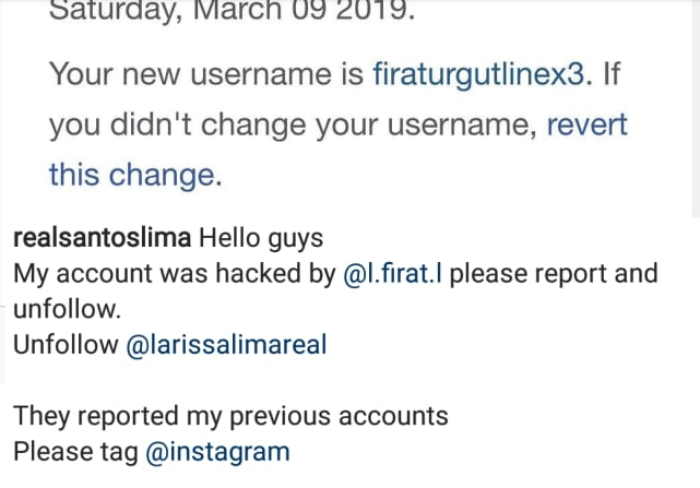 Larissa lima was hacked on instagram