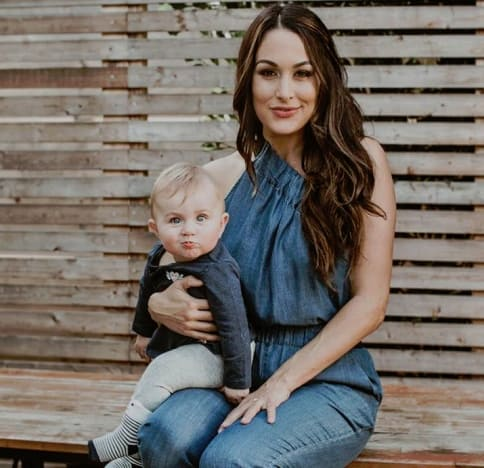 Brie Bella and Baby Birdie Joe Danielson