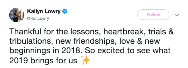 And her final message in 2018