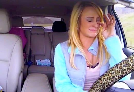 Leah messer cries in the car