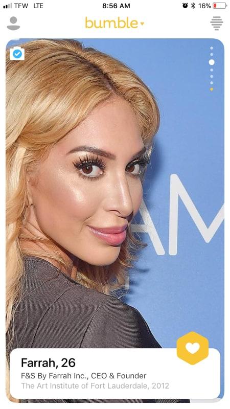 Farrah abraham bumble profile