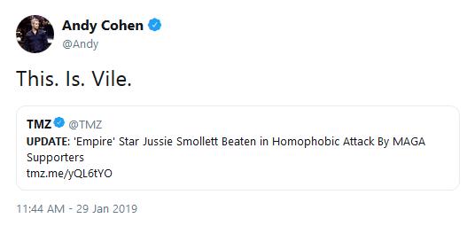 Jussie smollett tweet by andy cohen
