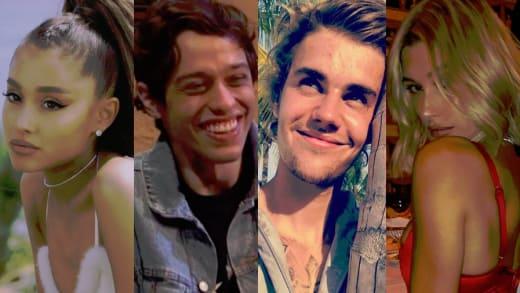 Ariana Grande, Pete Davidson, Justin Bieber, Hailey Baldwin Split