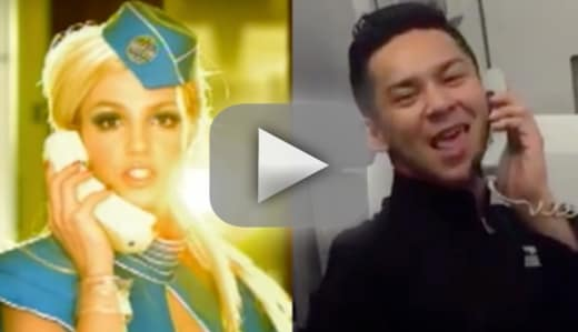 Awesome flight attendant makes like britney spears recreates tox