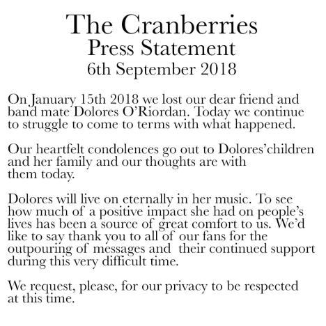 cranberries statement