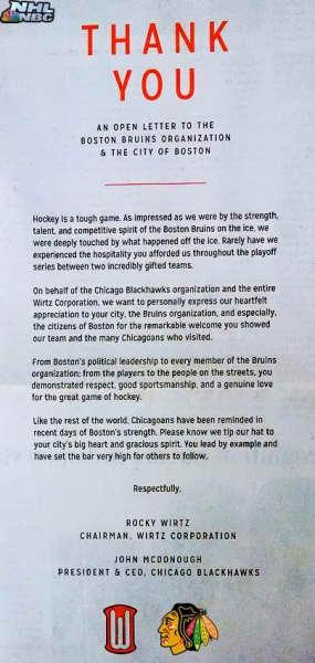 Bruins Open Letter