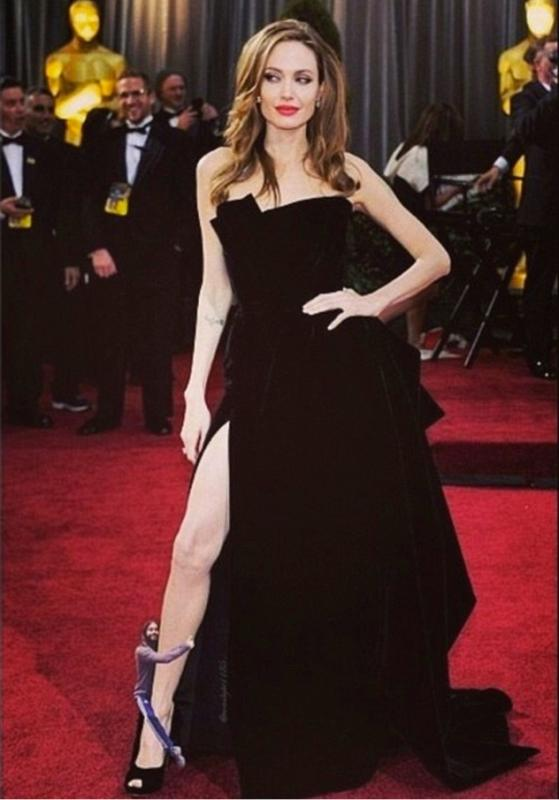 Jared Leto Hugs Angelina Jolie's Leg