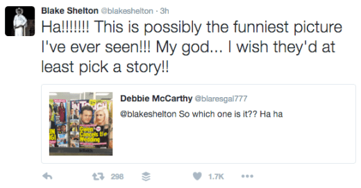 Blake Shelton Tweets Response to Wedding Rumors 2