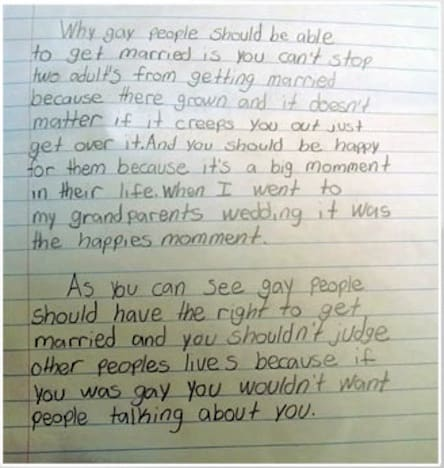 pro gay marriage essay by fourth grader goes viral the hollywood  pro gay marriage essay
