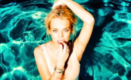 Lindsay Lohan Poses in Pool For Tyler Shields, Does Signature Finger-Biting Pose