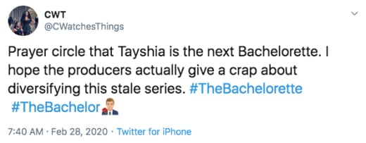 Tayshia Adams tweet