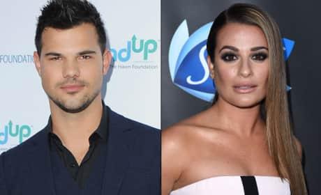 Lea Michele Talks to Taylor Lautner
