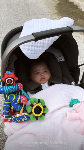 Stormi Webster in a Stroller