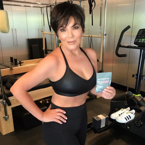Kris Jenner Poses While Promoting Tea