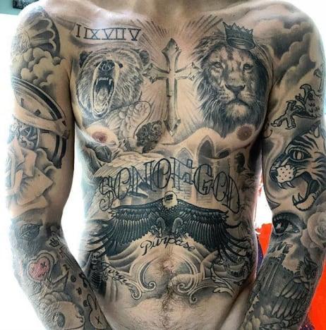 Justin Bieber Torso Tattoos