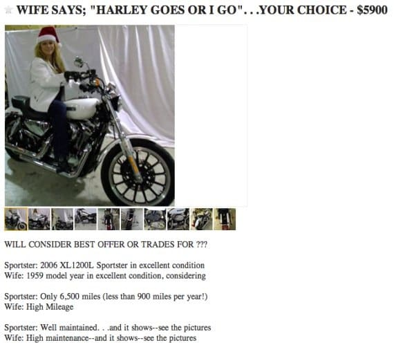 Wife, Harley For Sale on Craigslist