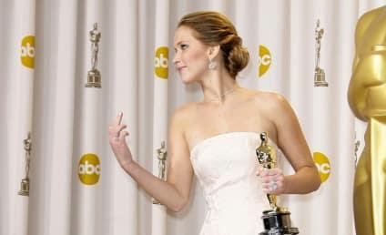 Jennifer Lawrence Middle Finger Livens Up Academy Awards Press Room