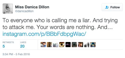 Danica Dillon tweets response to people calling her liar
