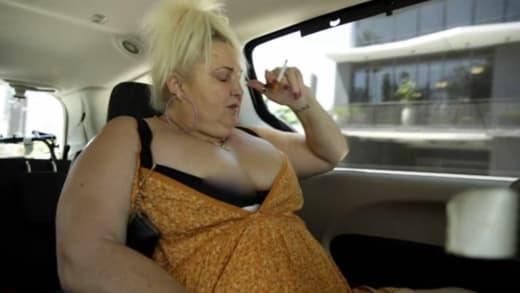 Angela Deem immediately smoking again in the car