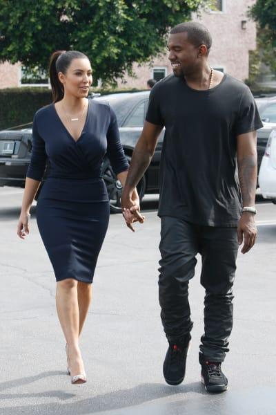 Kim Kardashian and Kanye West Walking