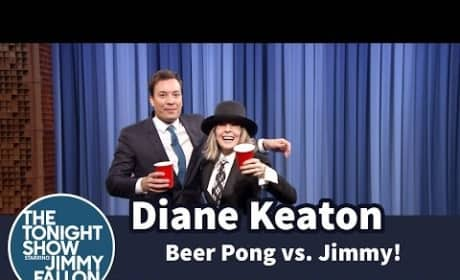Diane Keaton Plays Beer Pong on The Tonight Show